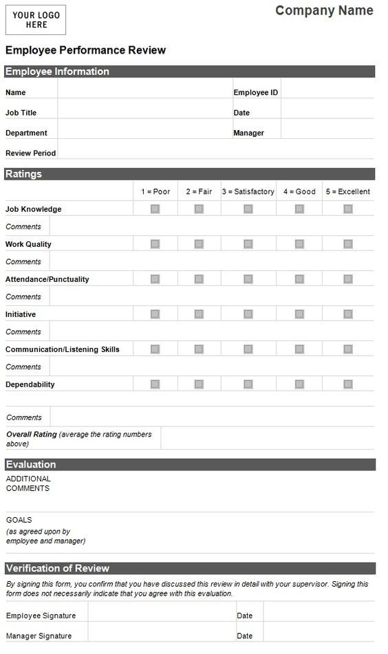 Employee Evaluation Template Employee Performance Evaluation Form