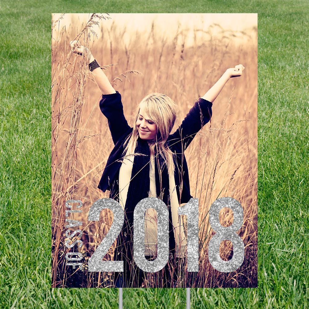 Glam grad vertical yard sign graduation party decorations pear