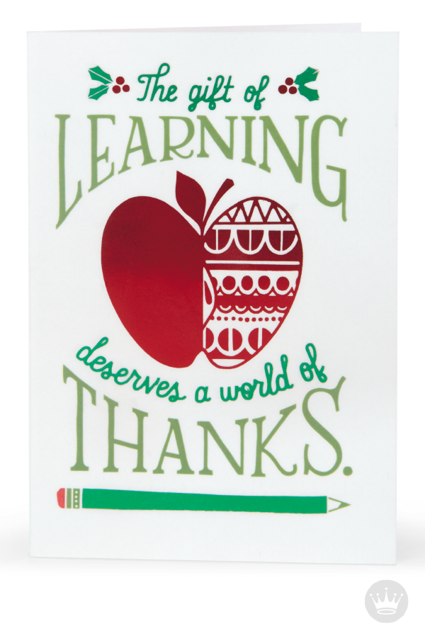 a world of thanks christmas card for teacher take time to appreciate a special educator this christmas and thank them for the gift of learning with this