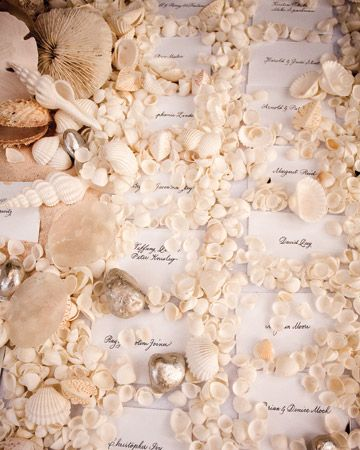 A seashell-embellished escort card display