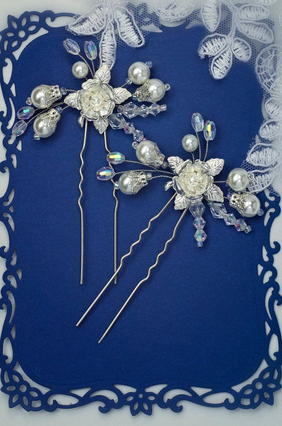 pearl and crystal hair pins gold hair pin bridal hair por TopGracia