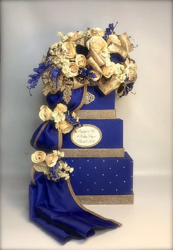 Wedding Card Box With Lock Royal Blue Champagne Gold And Card