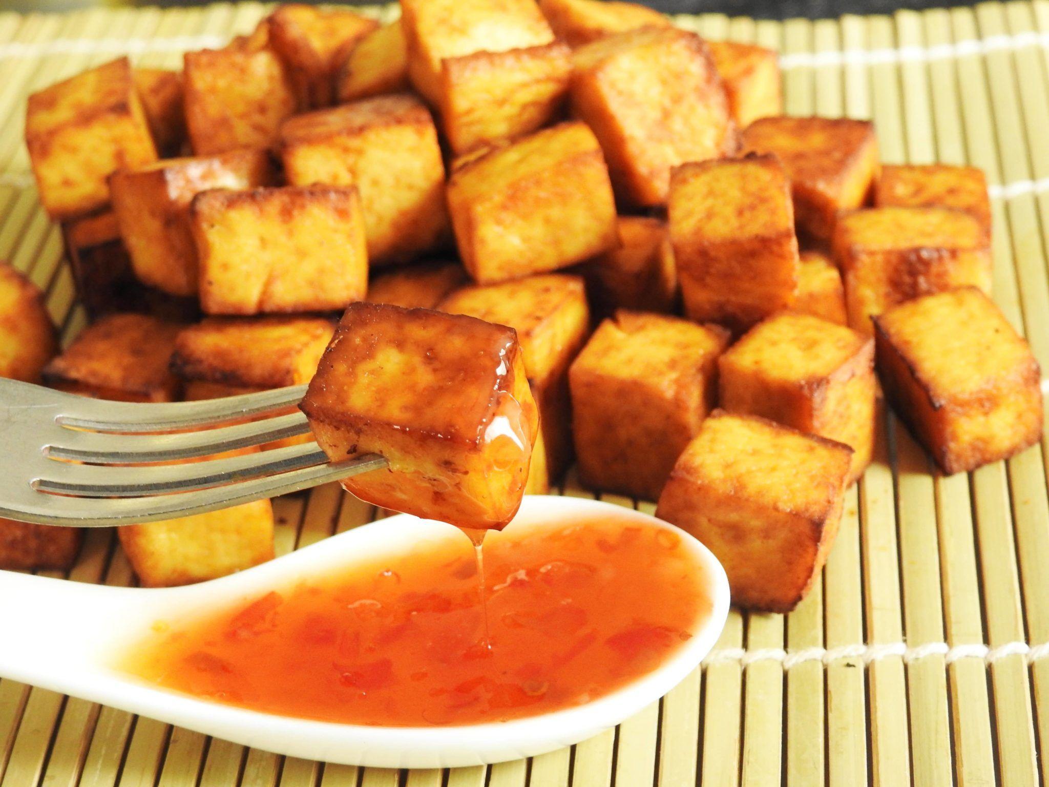 5 Ingredients Baked Tofu Snack Healty Thai Recipes Recipe Tofu Snacks Baked Tofu Snacks