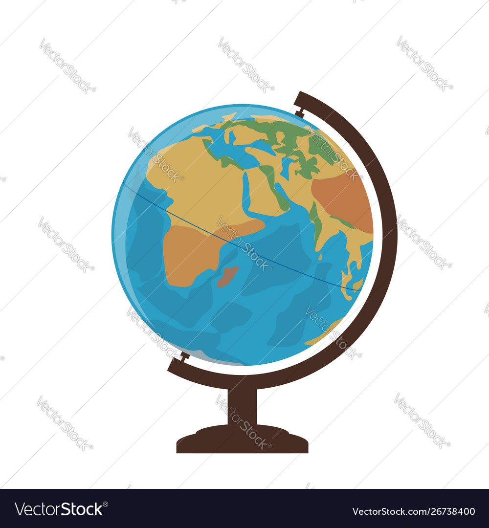 School globe on a white background Royalty Free Vector Image ...