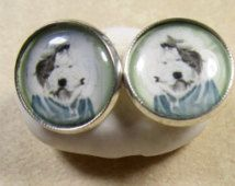 Old English Sheepdog Bad Hair Day Stud or Lever Back Earrings