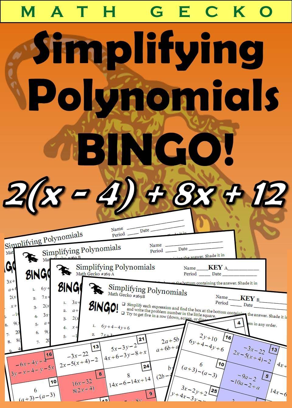 269 simplifying polynomials bingo polynomials math