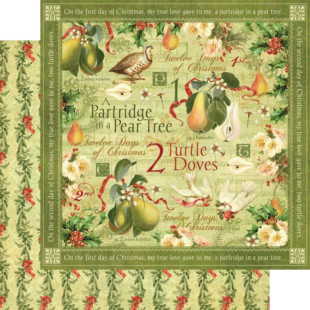 Graphic 45 twelve days of christmas collection 12 x 12 double graphic 45 twelve days of christmas collection 12 x 12 double sided paper turtle doves pronofoot35fo Image collections