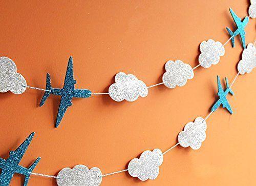 Sunbeauty 3 Meter Flugzeug Wolke Blumen Krone String Girlande