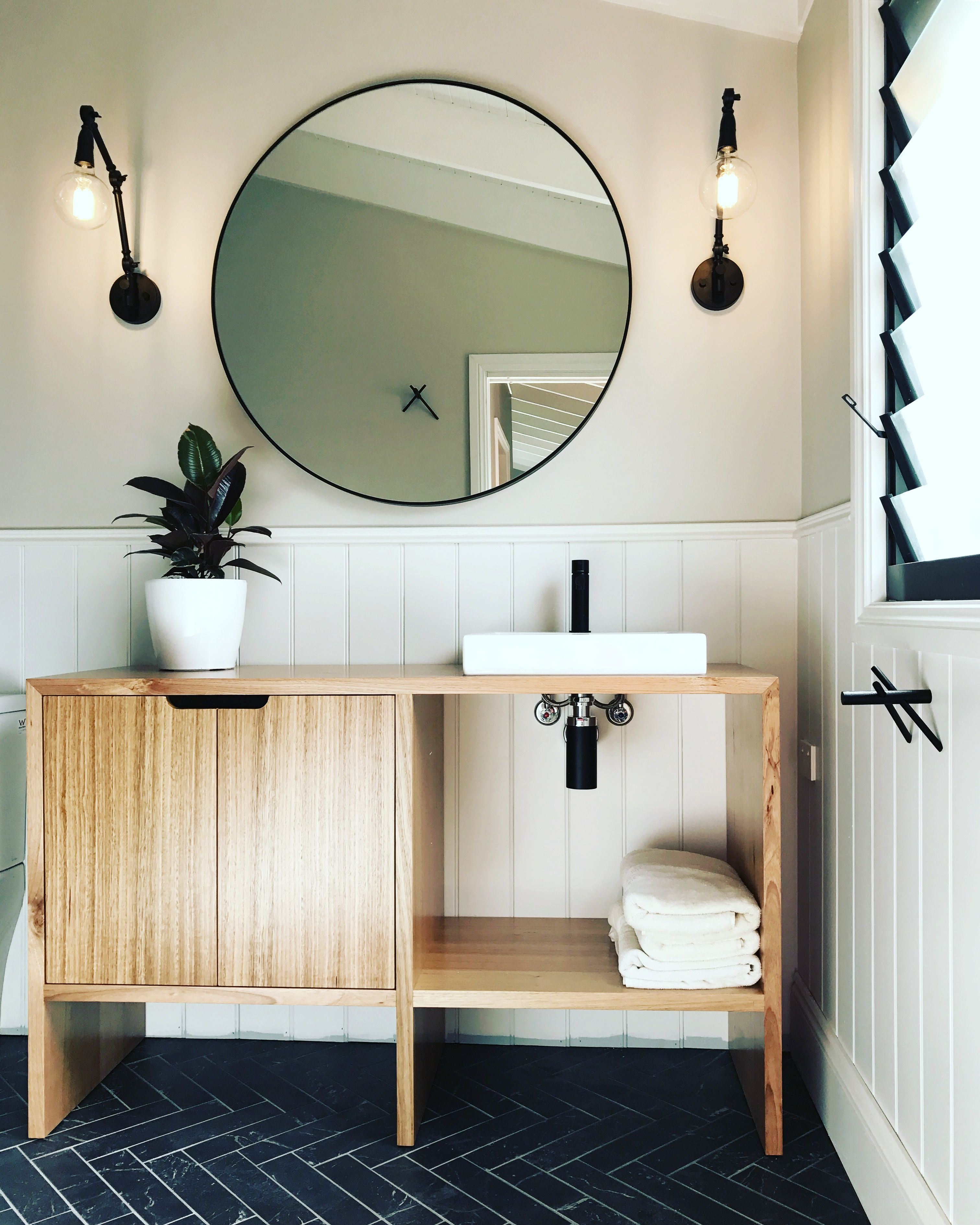 Modern Bathrooms Industrial Bathrooms Timber Vanity Counter Top - Industrial bathroom wall lights