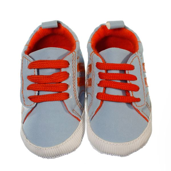 Trendy and bright pre-walker sneaker for boys. Baby blue shoe with bright orange laces as well as bright orange stripes on the side and bright orange lining of the shoe. Both laces and Velcro strap to help keep shoes on little feet. Sneakers are ankle high with a non-slip sole and are lightweight.  Price: $29.95  http://www.bubbaboosh.com.au/boys-shoes/Riley