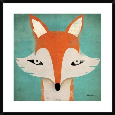 "East Urban Home 'Fox' Graphic Art Print Format: Tribeca Black Framed, Matte Color: Bright White, Size: 31.5"" H x 31.5"" W"
