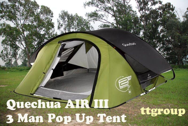 Quechua Waterproof Pop Up C&ing Tent 2 Seconds AIR III 3 Man Double Lining & Quechua Waterproof Pop Up Camping Tent 2 Seconds AIR III 3 Man ...