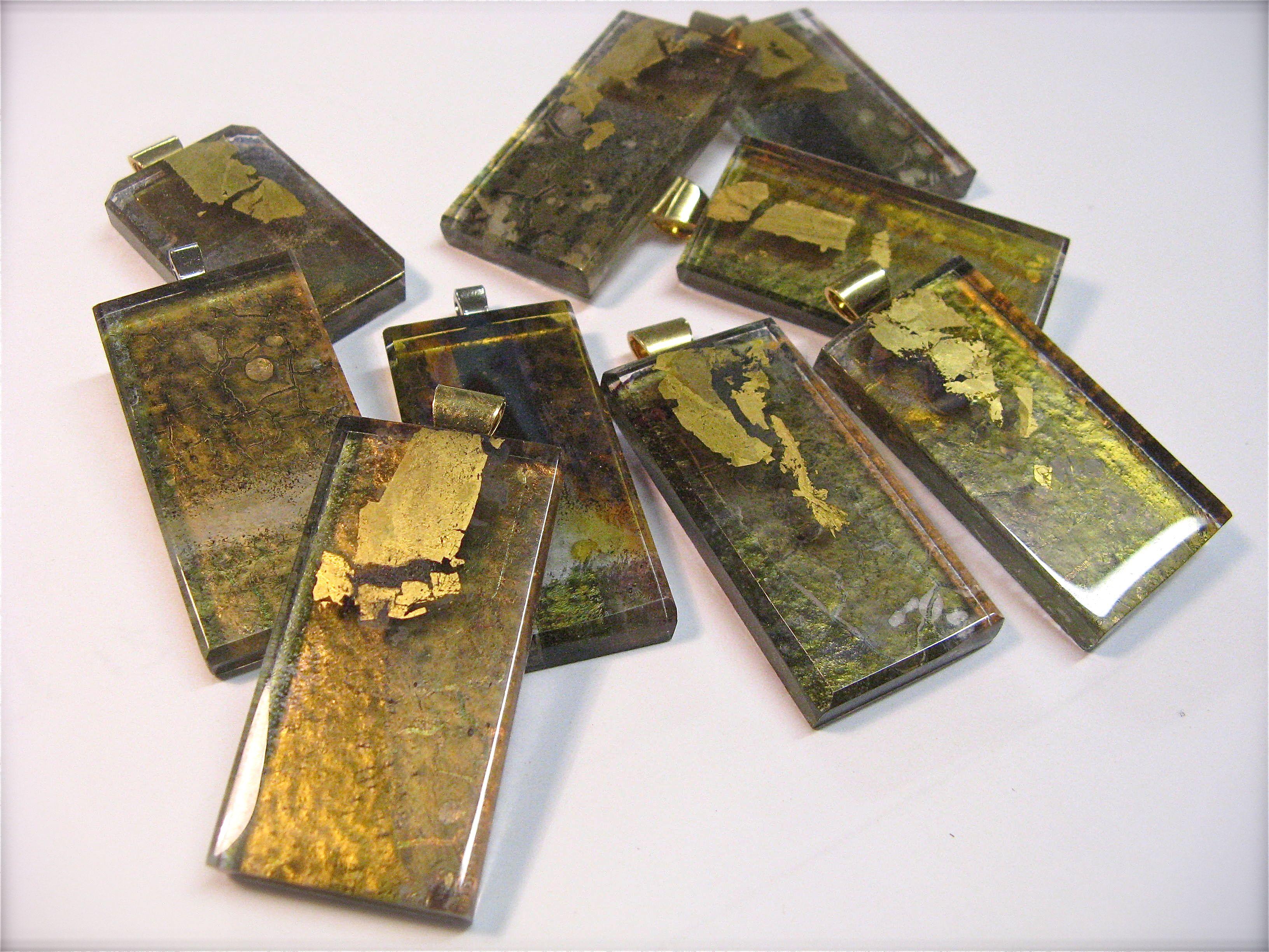 Fused Glass Jewellery Gold leaf and Lustre Mark Howard Glassworks