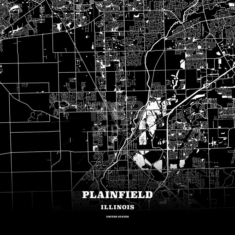 Black Map Poster Template Of Plainfield Illinois Usa Maps Vector
