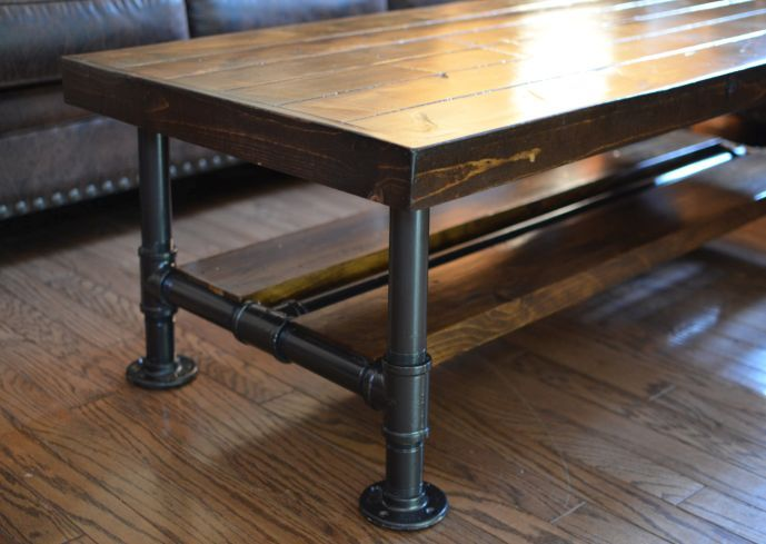 Knotty Pine Coffee Table With Steel Pipe Legs Lower Wood Shelf