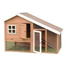 2 Door Wood Chicken Coop In Brown And White With Mesh Panels And A Nesting Box Featuring A Roosting Perch Chicken Coop Chicken House Diy Chicken Coop