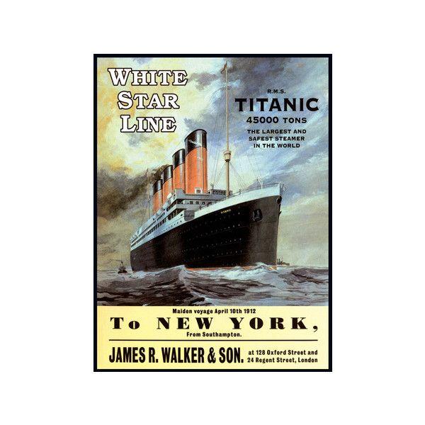 White Star Line Titanic - to New York Tin Sign Wall Art ($25 ...