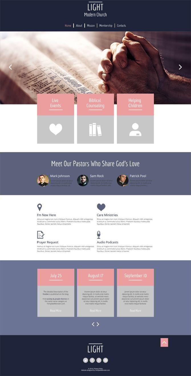 spirit led design for religious site free html5 theme pinterest