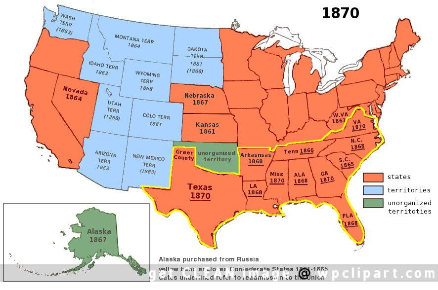 Map Of Us 1870 us territory 1870 | American history, History, Map