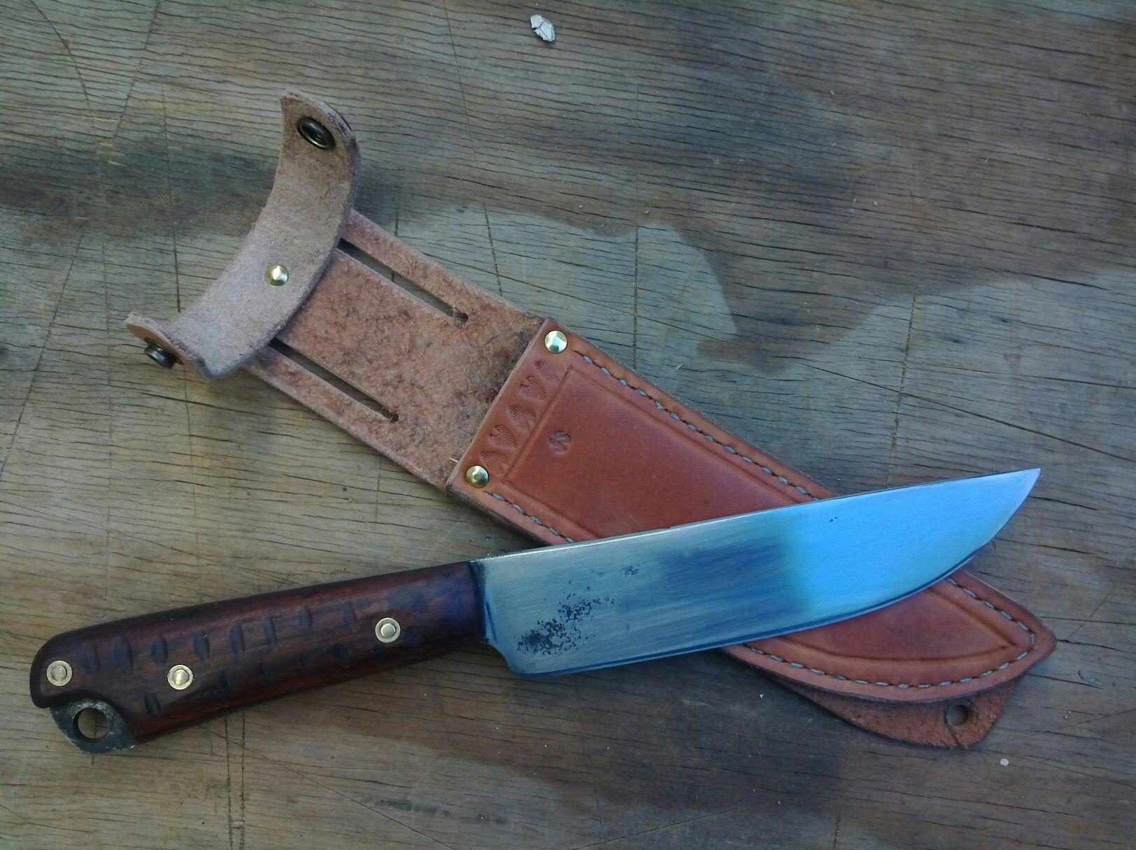 """Irish"" knife 5160 spring steel carved rosewood handle"
