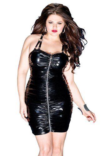 Darque Womens Black Gathered Wet Look Dress Rubber Wetlook Gothic