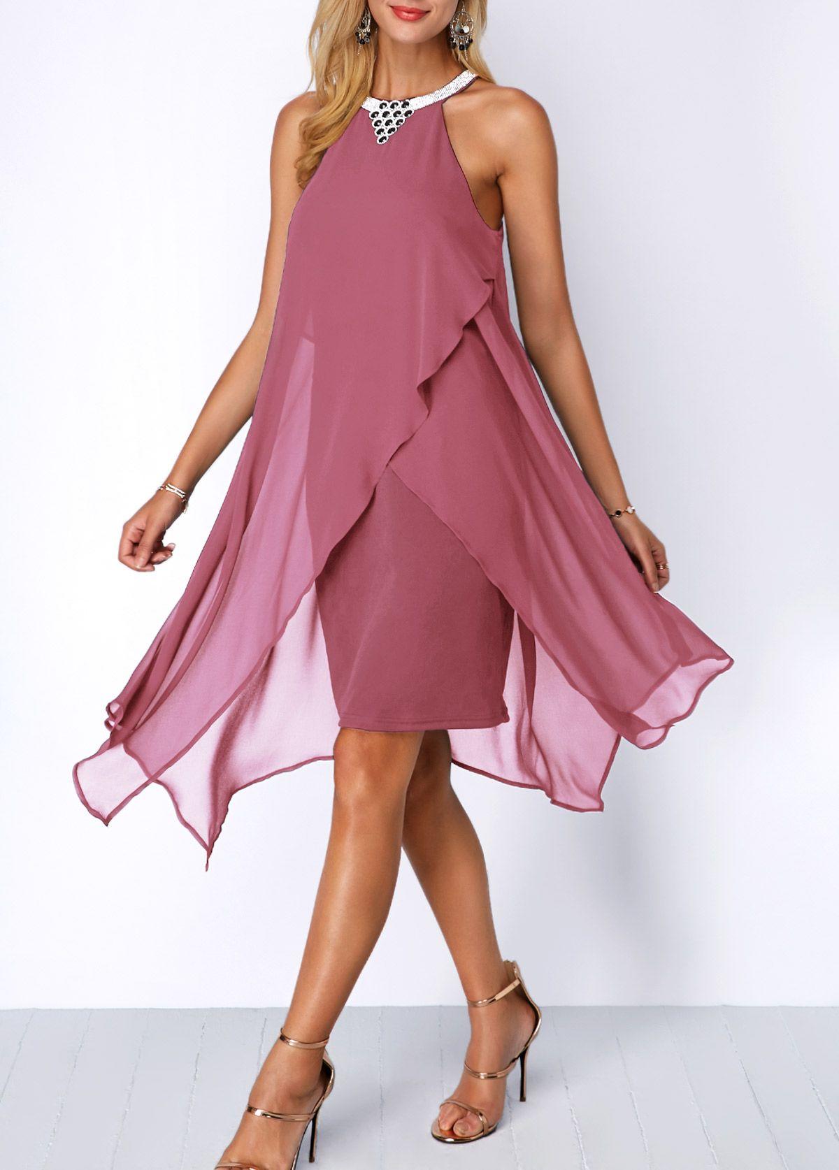 960e89f20eb Embellished Neck Asymmetric Hem Chiffon Overlay Dress