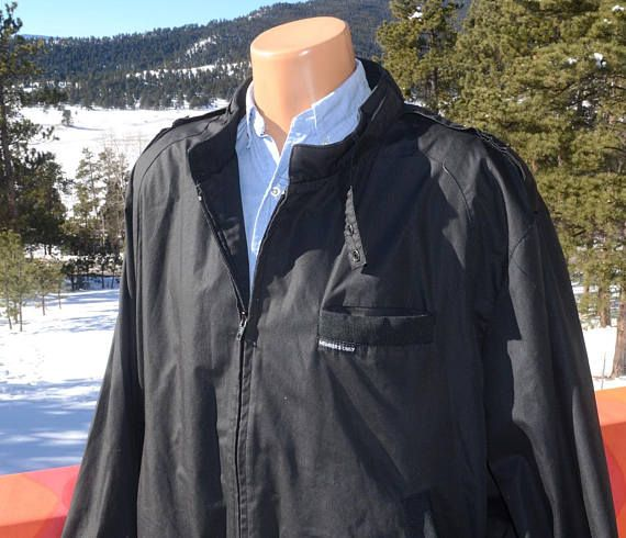 Vintage 80s Windbreaker Members Only Jacket Black 2xl Xxl Xl Preppy