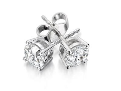 Studs 1 3 Carat Total Weight Four Prong Diamond Solitaire Earrings Set In 14k White Gold Classic Diamon Solitaire Earrings Jewelry Diamond Solitaire Earrings