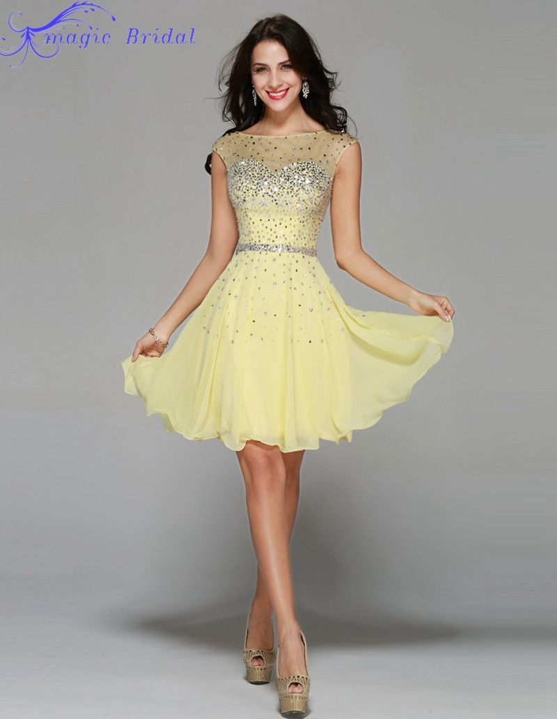 Short Yellow Homecoming Dresses Cute 8th Grade Graduation Dresses ...