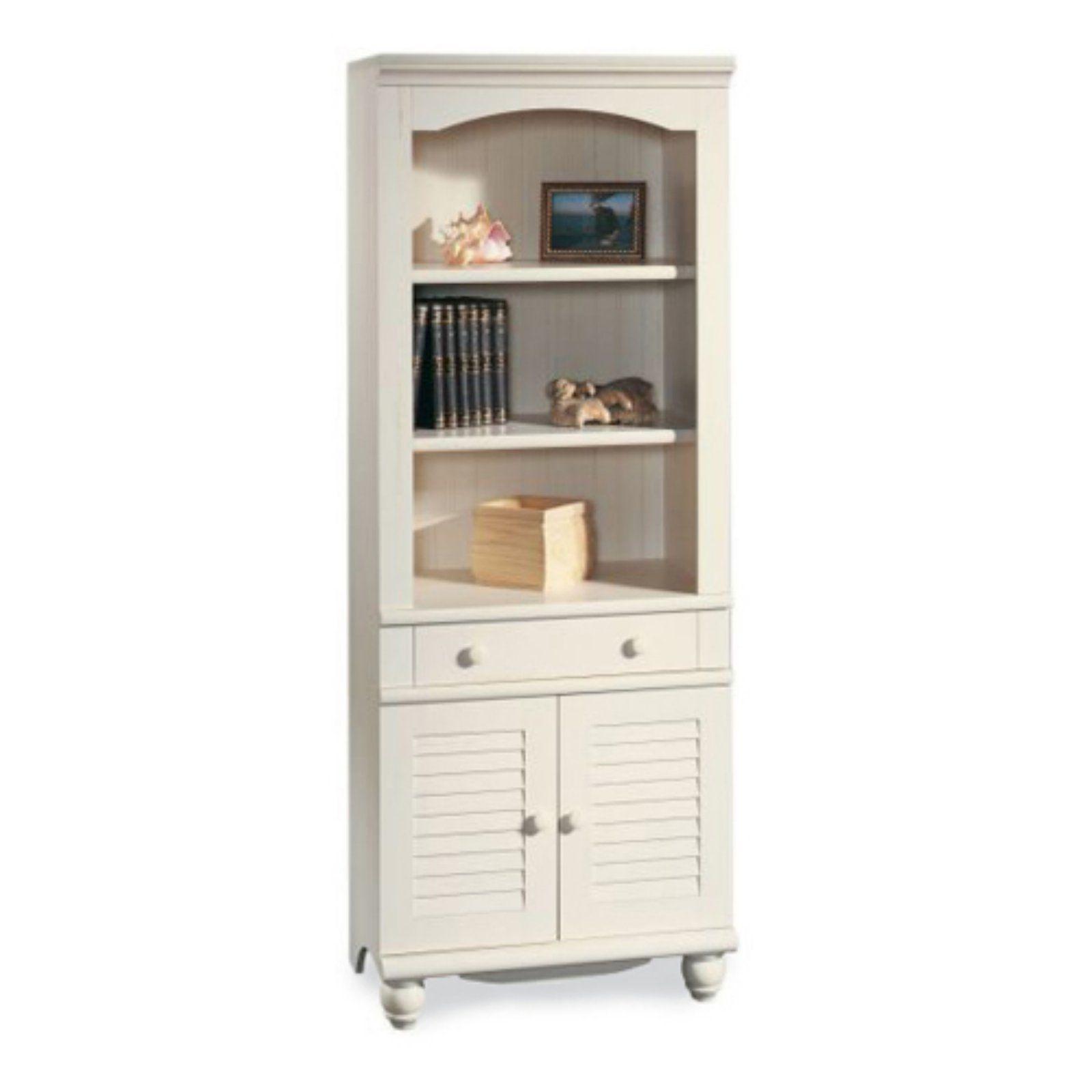 Sauder Harbor View Bookcase With Doors Antique White Bathroom
