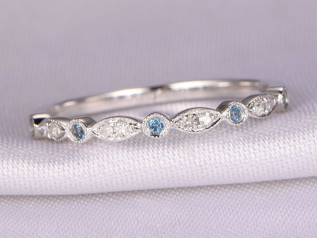 Natural Diamond Topaz Wedding Ring London Blue Topaz Ring Stackable Ring Art Deco Band Matching Band 14k White Gold Half Eternity Band Topaz Wedding Ring Wedding Ring Blue Topaz London Blue Topaz Ring