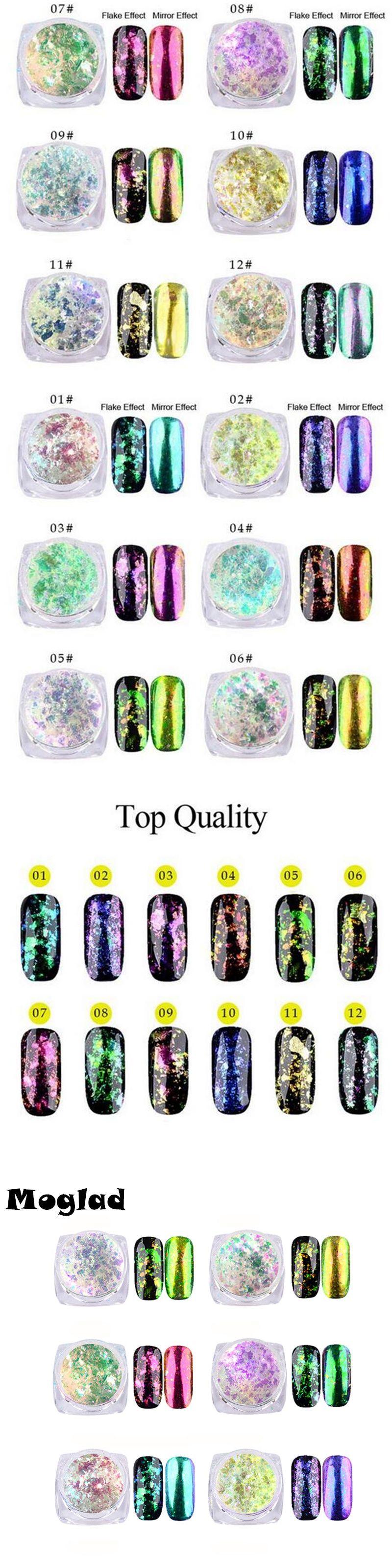 Moglad 1 box Chameleon Colorful glitter Powder Nail Glitter Polish ...