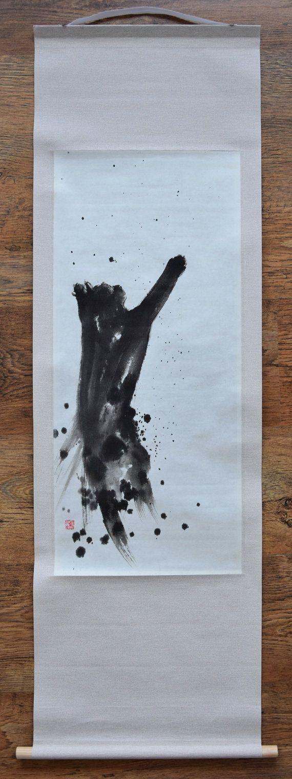 Black Cat, Zen Cat, Zen Painting, Sumie, Brush Artwork