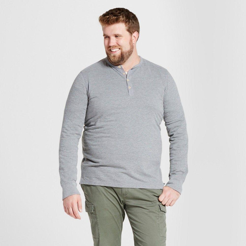 Gangster flannel shirts  Menus Big u Tall Standard Fit Long Sleeve MicroWaffle Henley Shirt
