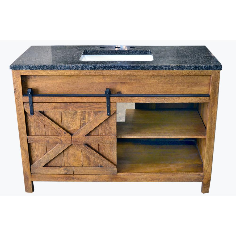 Traditional 48 In Wide Single Barn Door Vanity In Antique Finish Bv2148f Traditional Bathroom Black Granite Countertops Farmhouse Vanity
