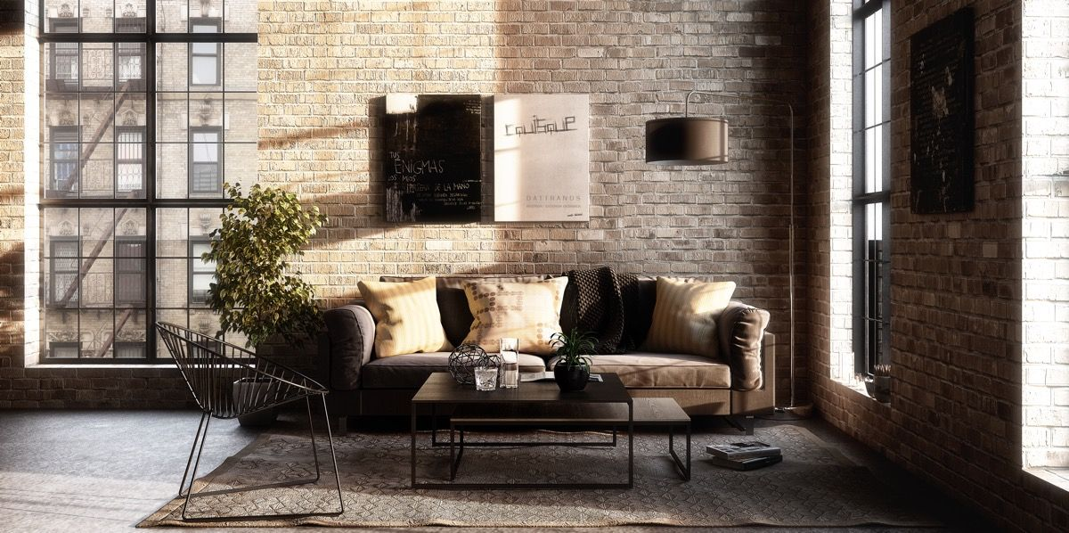 Wall Stencil Furniture Industrial Style Living Room Industrial