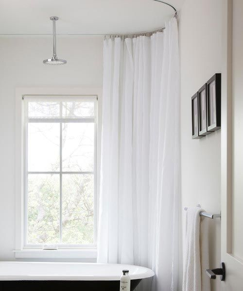 Oval Shower Curtain Track Rod Installed With Clawfoot Tub With