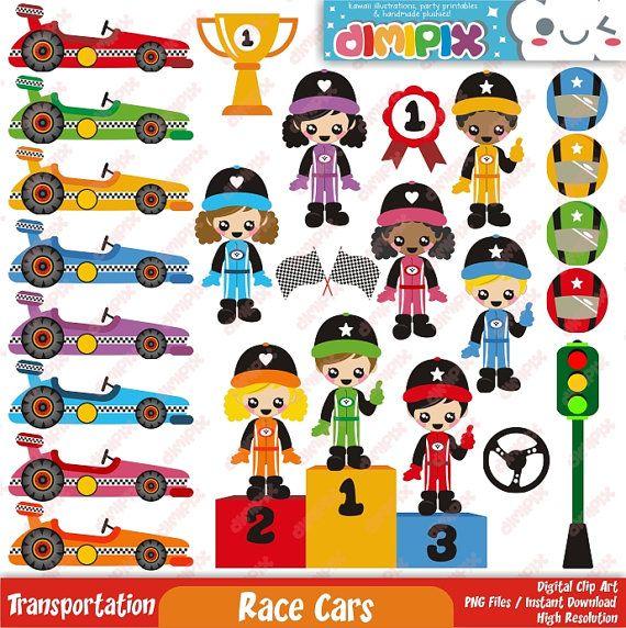 Race Cars Racing Cars Clip Art Set Kit Printable Digital