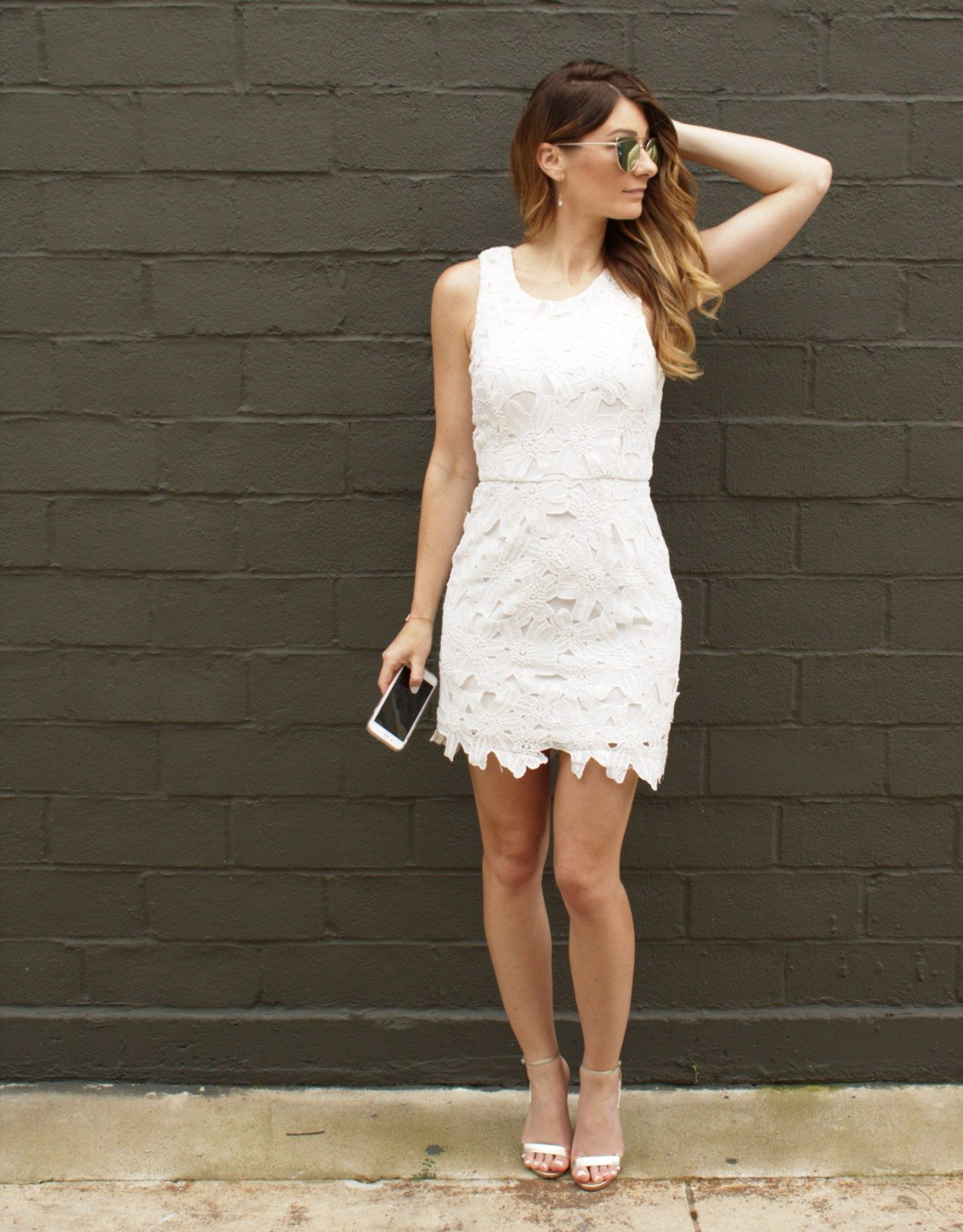 White lace dress with gold accents lace lacedress hers