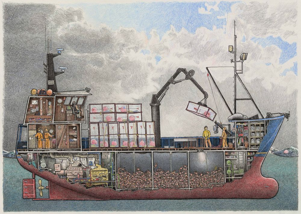 This crabber is a composite of several house aft bering for Crab fishing boat