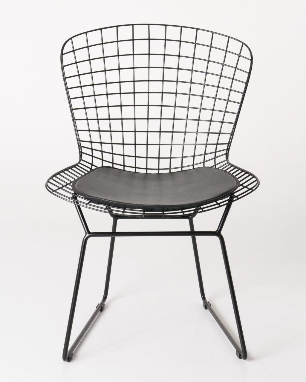 Replica Harry Bertoia Bird Chair Black Powdercoated With Black Seat Cushion  Only