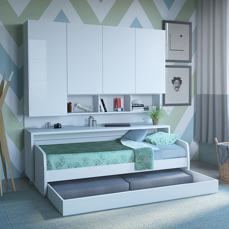 Compact Sofa and Cabinets Wall Twin Murphy Bed Kids Rooms