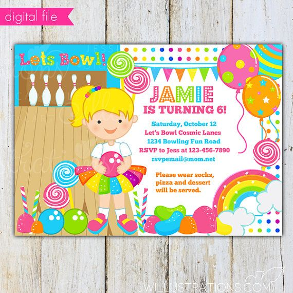 girls candy rainbow bowling blonde printable by jwillustrations
