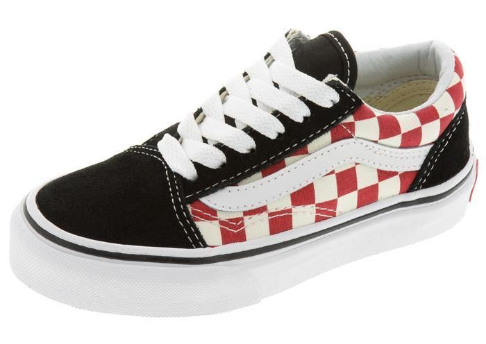 81403ee1ebfe Vans Childrens Old Skool Checkerboard Black Red