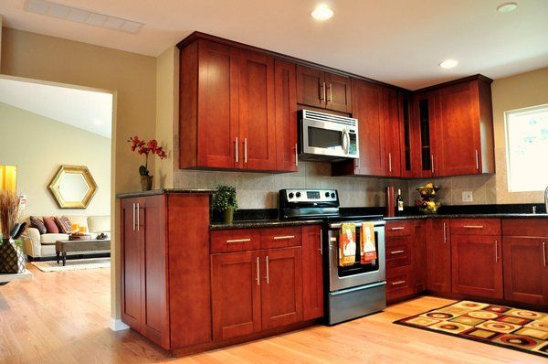 Cherry Kitchen Cabinets Black Granite cherry shaker cabinet, red oak hardwood floor, black galaxy