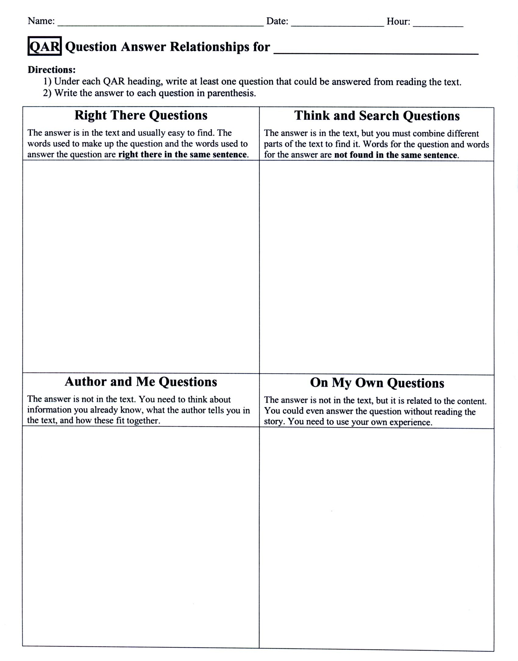 Categorizing Questions  Qar Lessons  Education Literacy  Schools Ela    Question Answer Relationship Worksheet