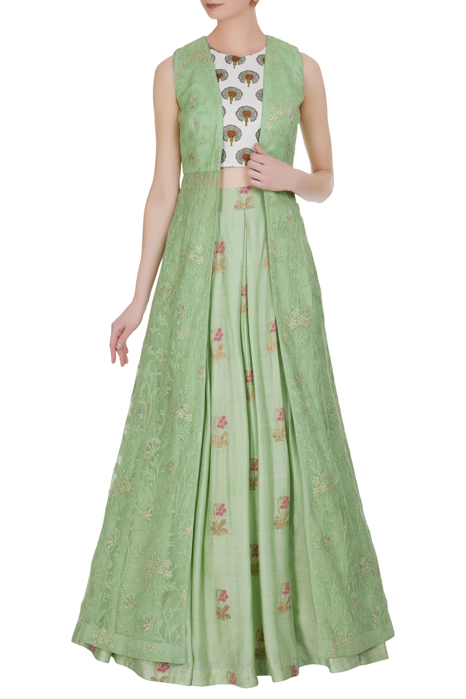 64ecca584e Printed crop top with threadwork jacket and skirt | wedding in 2019 ...