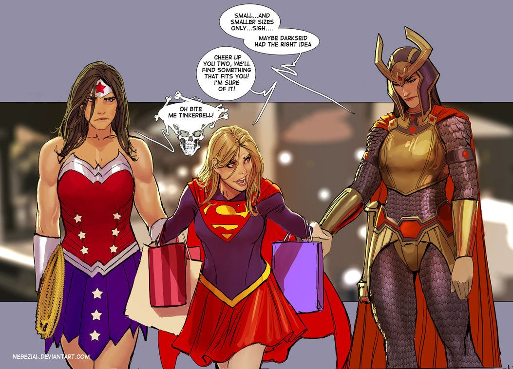 Image of Wonder Woman, Supergirl and Big Barda shopping-1
