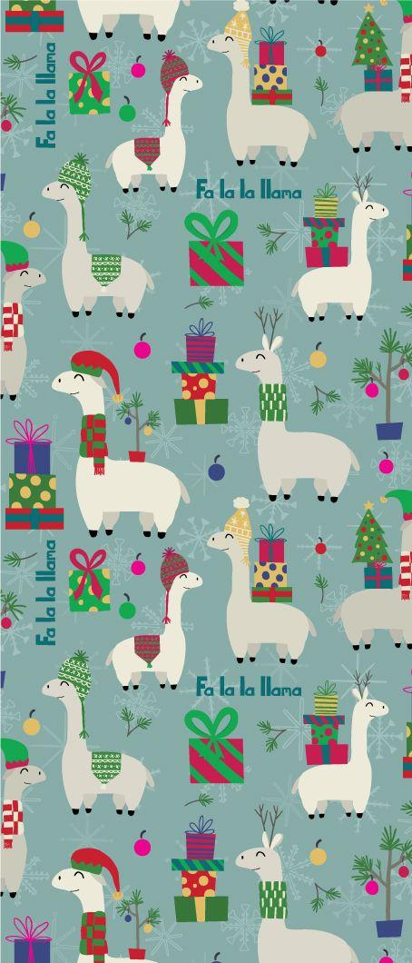 Fa La La Llama Pattern Wallpaper Iphone Christmas Holiday Illustrations Llama Christmas