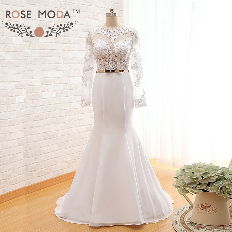Long Sleeve Keyhole Back Lace Mermaid Wedding Dress With Gold Belt Sash See Through Top Backless Dresses Real Photo